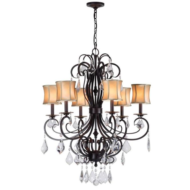 World Imports Annelise 6 Light Bronze Chandelier With Fabric Shades And Crystal Drop Accents Wi885289 The Home Depot