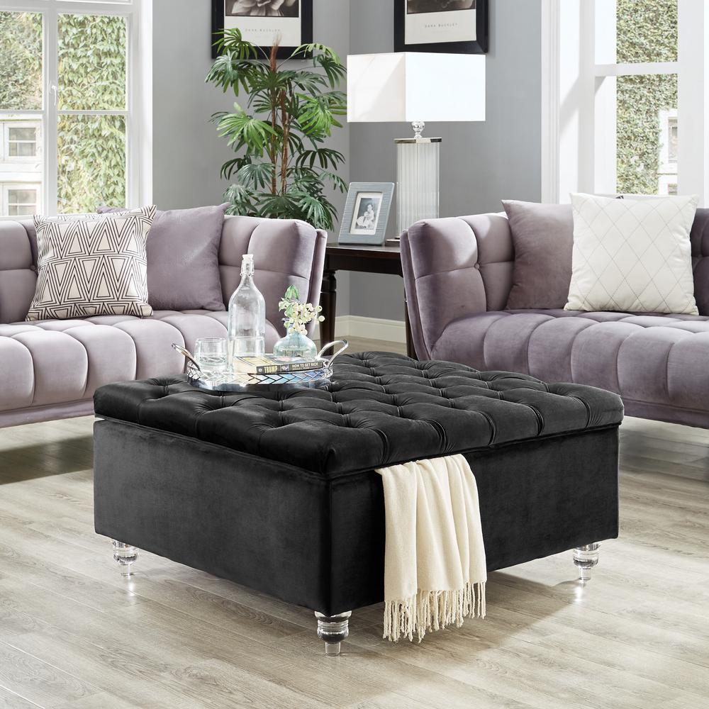 saige black velvet tufted square acrylic leg cocktail table storage ottoman