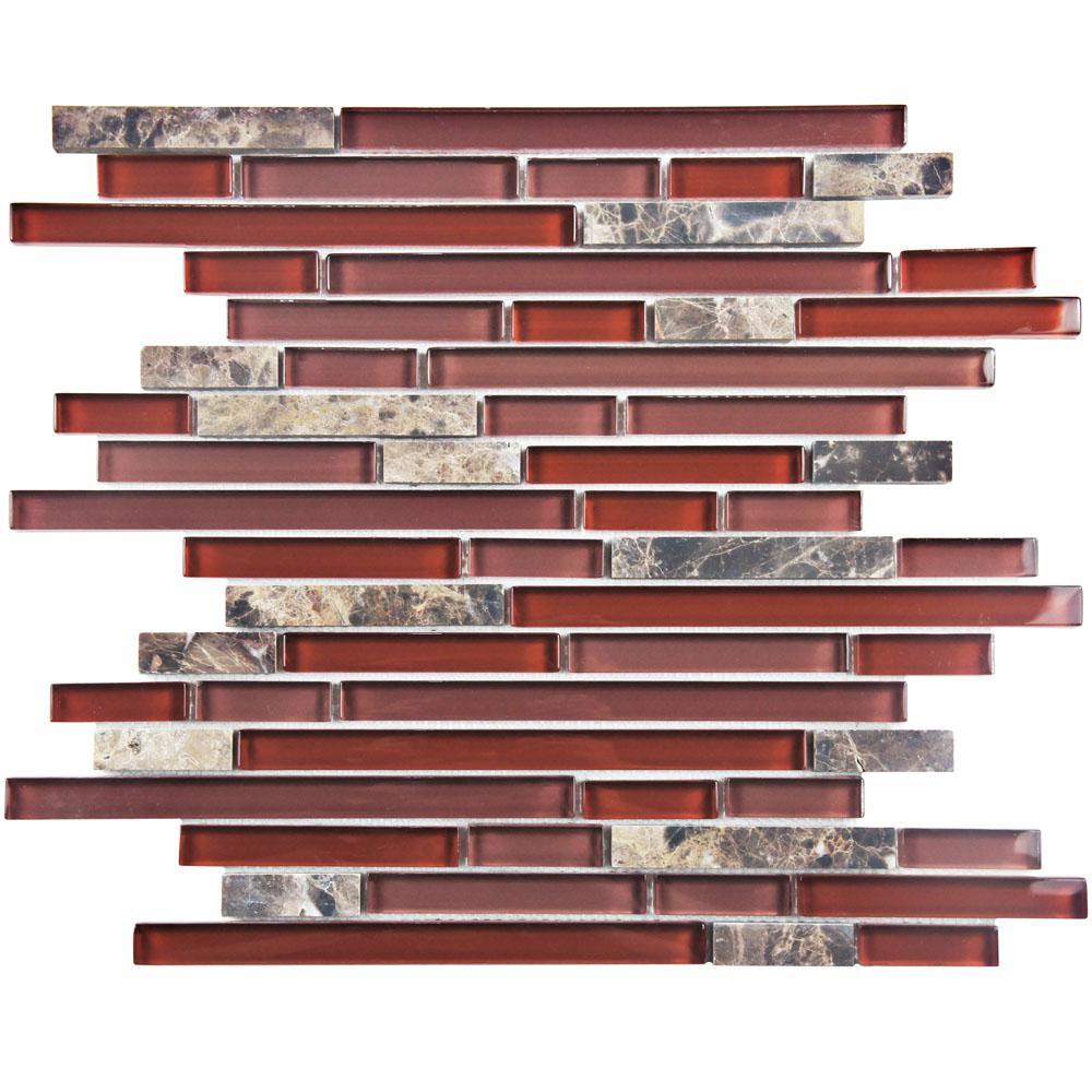 red glass mosaic tile backsplash home