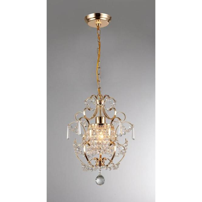 Gold Indoor Crystal Chandelier With Shade
