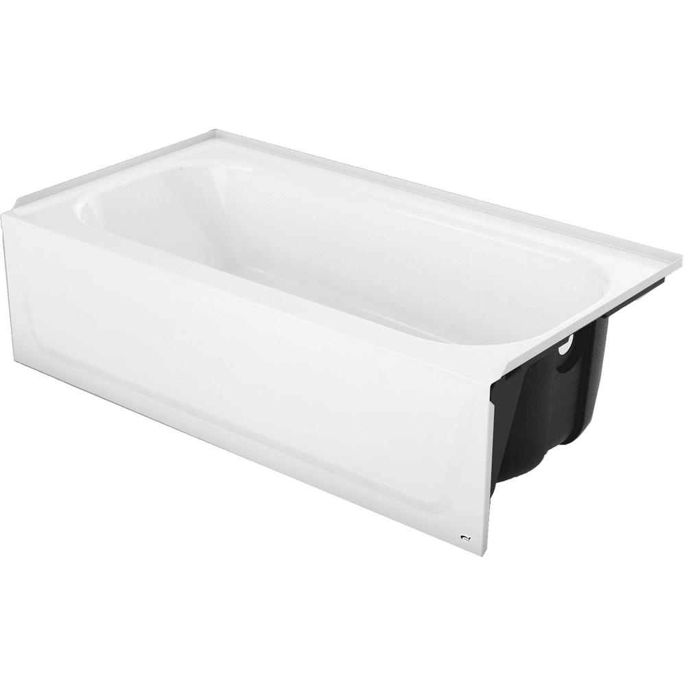 Bootz Industries Mauicast Plus 60 In Right Drain Rectangular Alcove Soaking Bathtub In White
