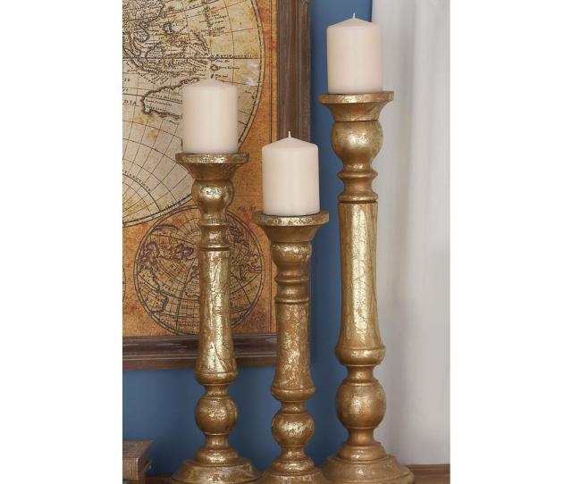 Golden Mango Wood Candle Holder