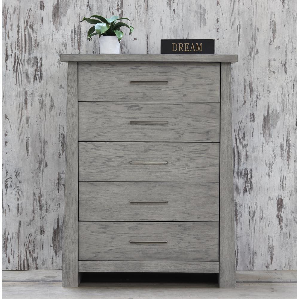 unbranded fusion 5 drawer driftwood chest 8124dw the home depot