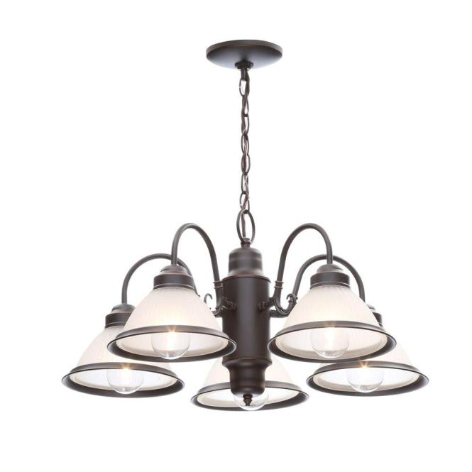 Hampton Bay Halophane 5 Light Brushed Nickel Chandelier With Frosted Ribbed Glass Shades Wb0390 Sc 1 The Home Depot