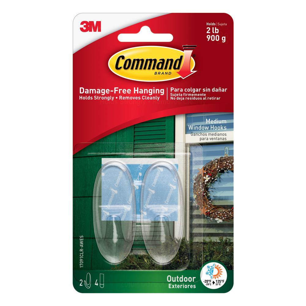 Command 2 Piece Medium Clear Outdoor Window Hooks 17091CLR