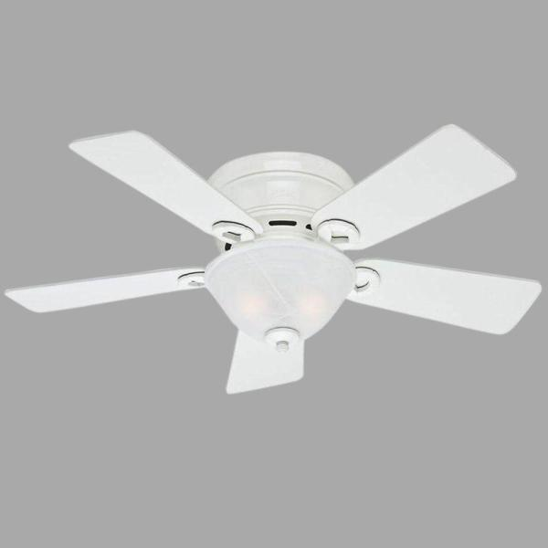 Hunter Conroy 42 in  Indoor White Low Profile Ceiling Fan with Light     Indoor White Low Profile Ceiling Fan with Light Kit
