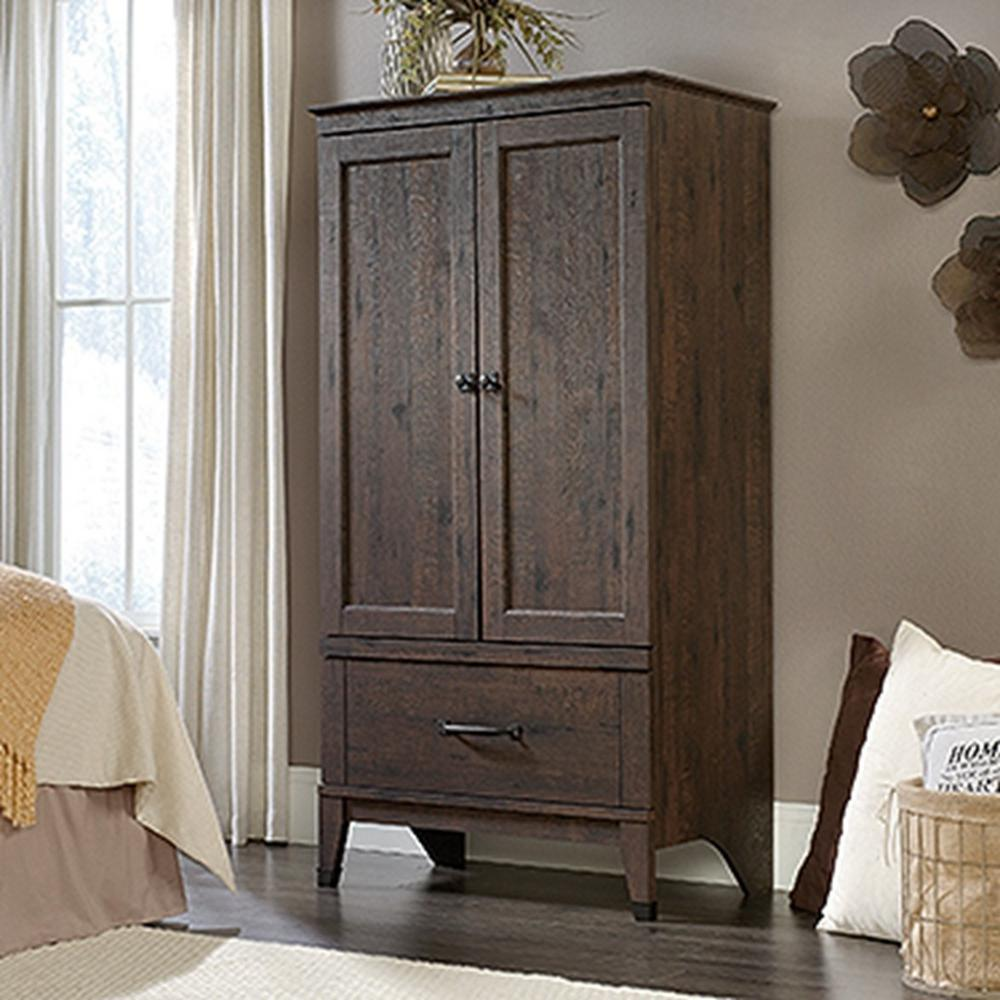 SAUDER Carson Forge Coffee Oak Armoire 419079   The Home Depot SAUDER Carson Forge Coffee Oak Armoire