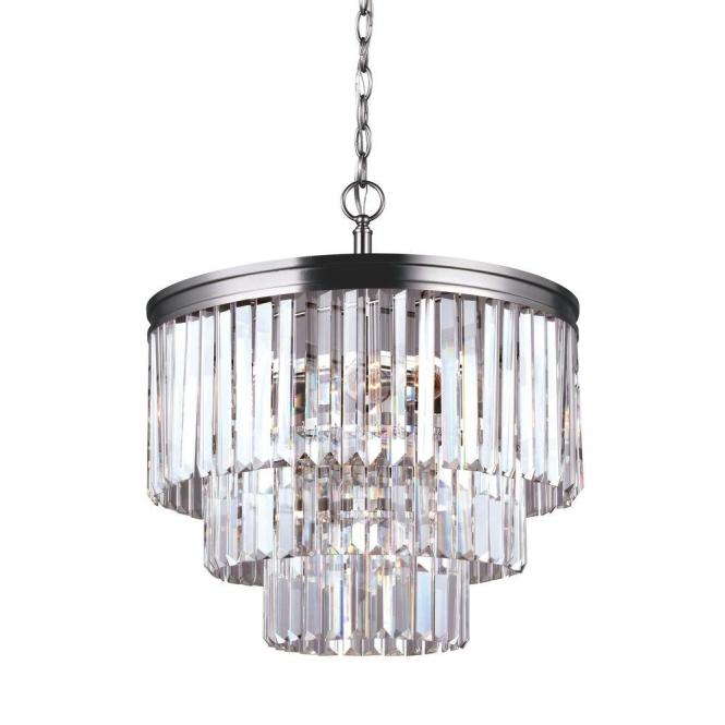 Sea Gull Lighting Carondelet 4 Light Antique Brushed Nickel Multi Tier Chandelier With Crystal Shade