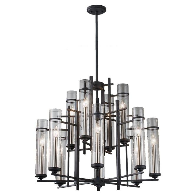 Feiss Ethan 12 Light Antique Forged Iron Brushed Steel Multi Tier Chandelier Shade F2629 8 4af Bs The Home Depot