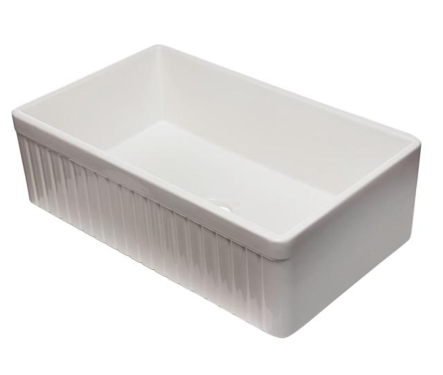 Alfi Brand Fluted Farmhouse Apron Fireclay  In Single Basin Kitchen Sink In White