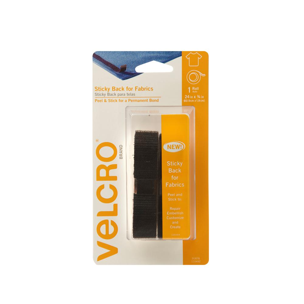 Velcro Brand 24 In X 3 4 In Sticky Back For Fabrics Tape Black 91878 The Home Depot