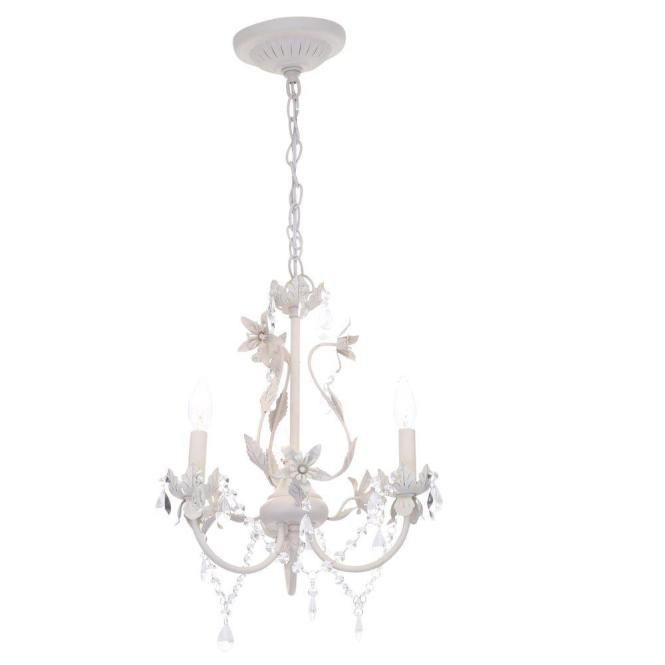 Hampton Bay Kristin 3 Light Antique White Hanging Mini Chandelier