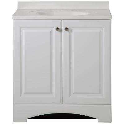 W Vanity In White With Cultured Marble Vanity Top In White