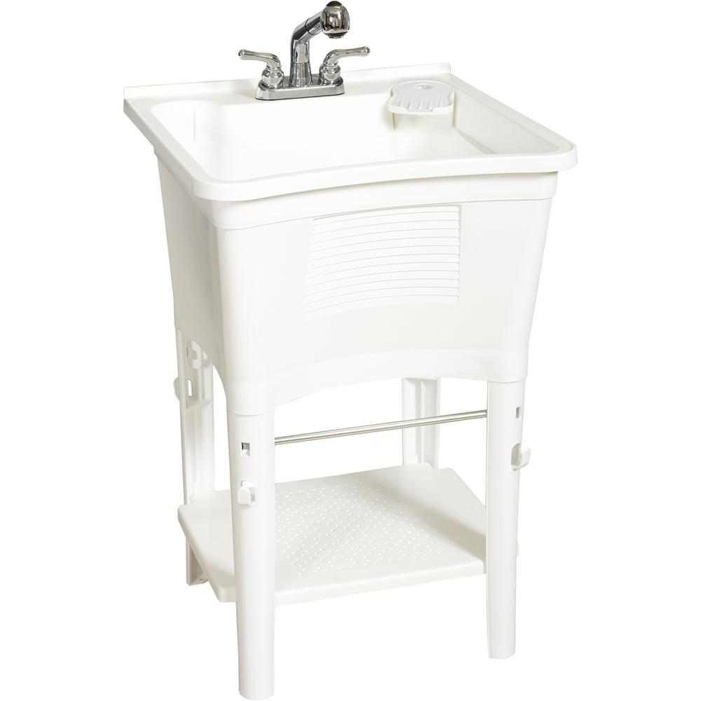 https www homedepot com p glacier bay all in one 24 in x 24 in 20 gal freestanding laundry tub in white with non metallic pull out faucet in chrome lt2007wwhd 203609451
