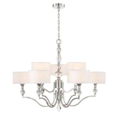 Evi 9 Light Chrome Chandelier With White Linen Clear Faceted Crystal Shade
