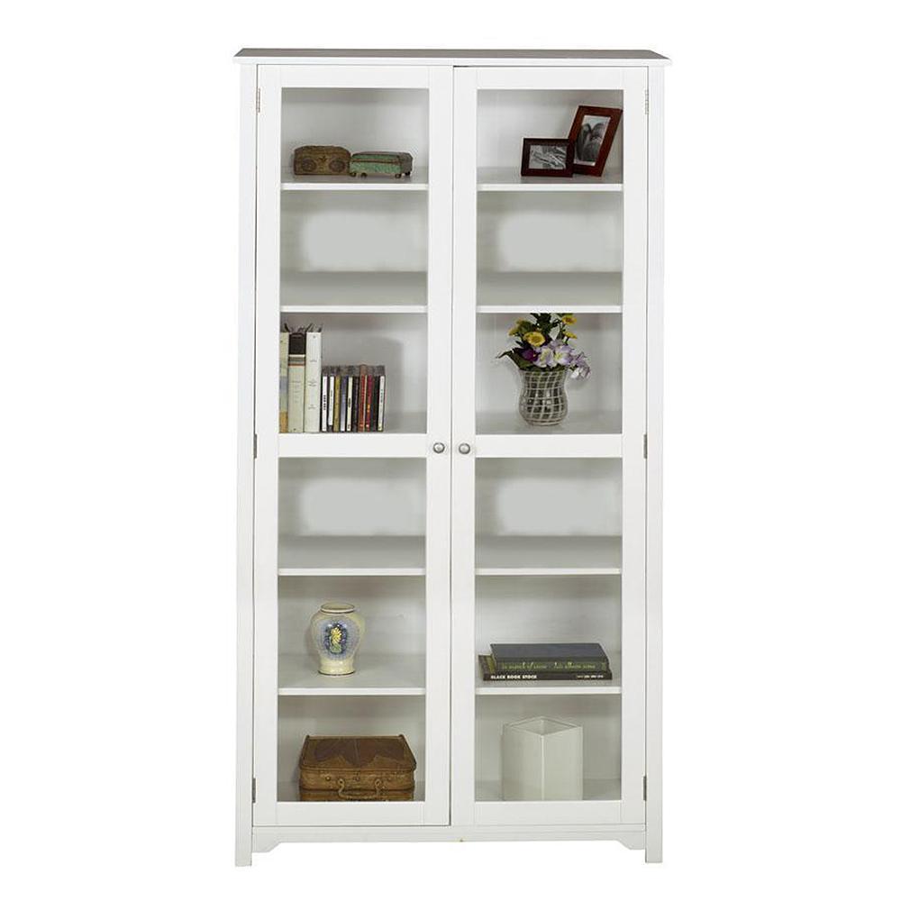 home decorators collection oxford white glass door bookcase