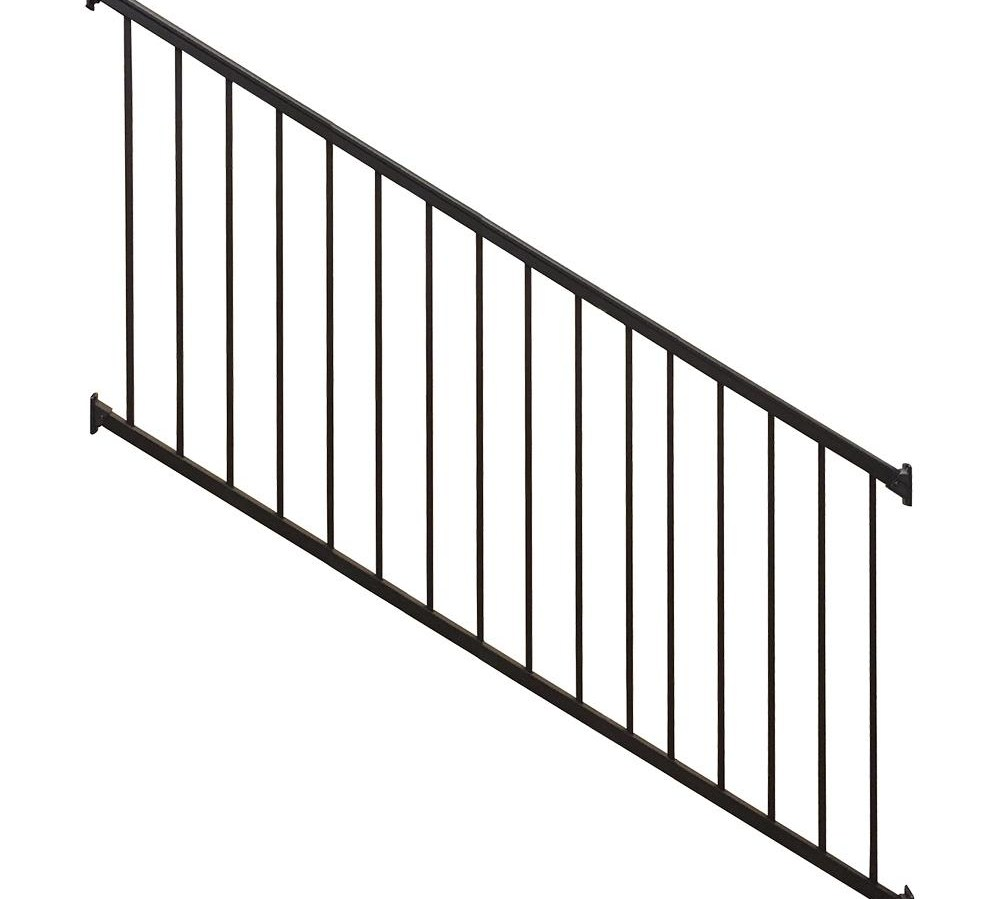 Weatherables Stanford 36 In H X 96 In W Textured Black Aluminum | Outdoor Stair Railing Installers Near Me | Transitional Handrail | Cable Railing | Glass Railing | Porch Railing Kits | Vinyl Railing