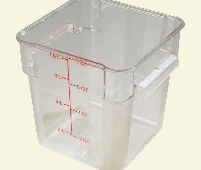 Polycarbonate Square Food Storage Container In Clear Lid Not Included Case Of 6 1072307 The Home Depot