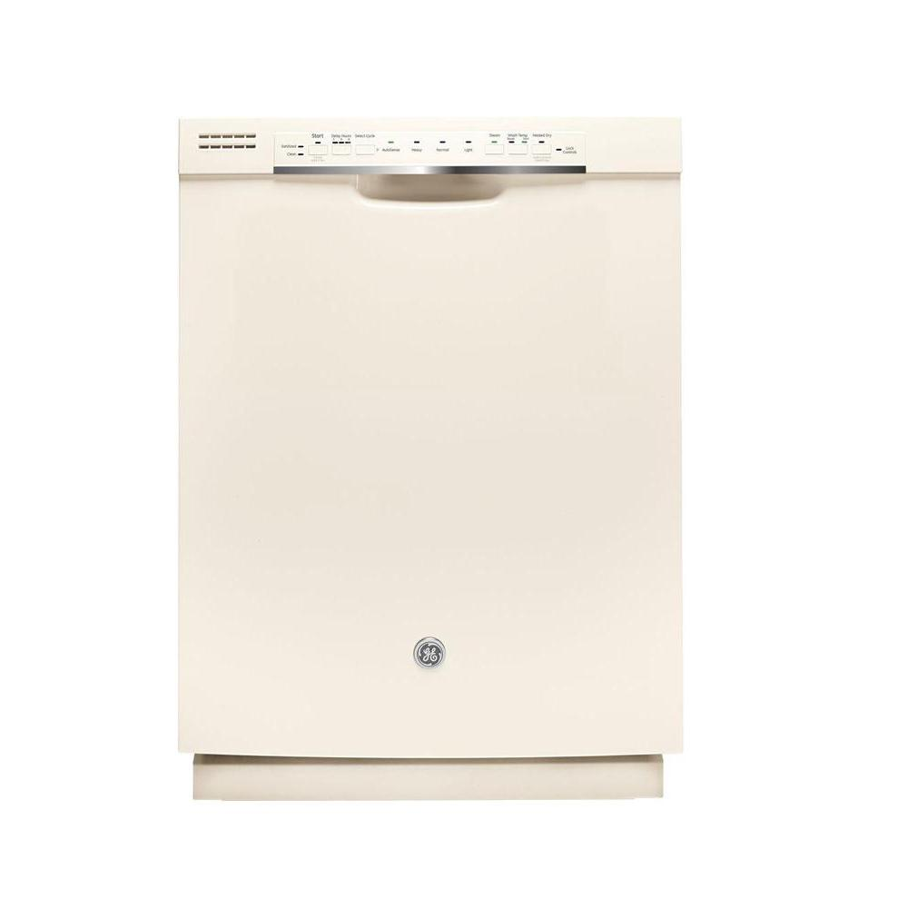 Ge Front Control Dishwasher In Bisque With Stainless Steel Tub And