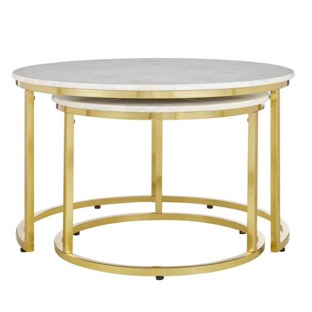 home decorators collection cheval 2 piece 31 in gold marble medium round marble coffee table set dc18 56100 the home depot