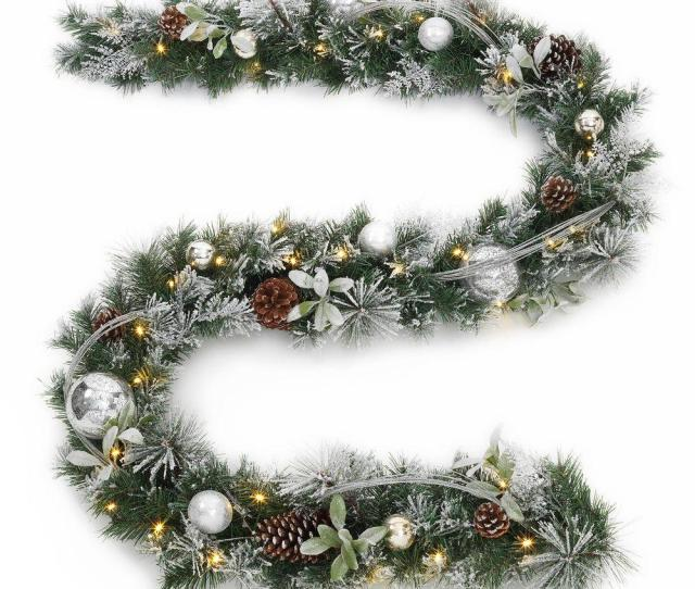 Battery Operated Snowy Silver Pine Artificial Garland With