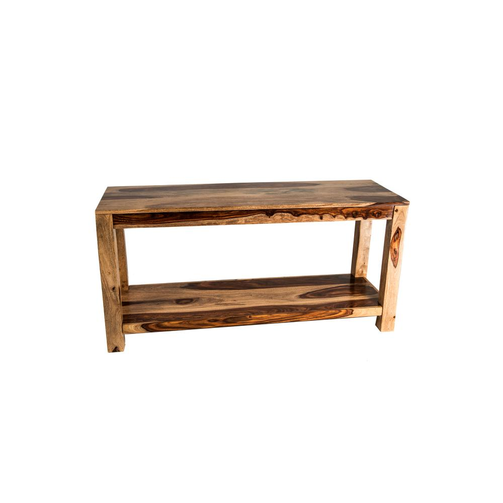 new ridge home goods aspen 50 in natural brown rectangle wood console table with shelf 3009 rw the home depot