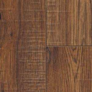 Laminate Wood Flooring   Laminate Flooring   The Home Depot Distressed Brown Hickory 12 mm Thick x 6 1 4 in  Wide x