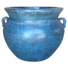 Ravenna Pottery Smooth Handle 21 in. Dia Ocean Azure Clay Pot