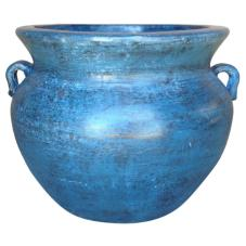 Ravenna Pottery Smooth Handle 21 in. Dia Ocean Azure Clay Pot
