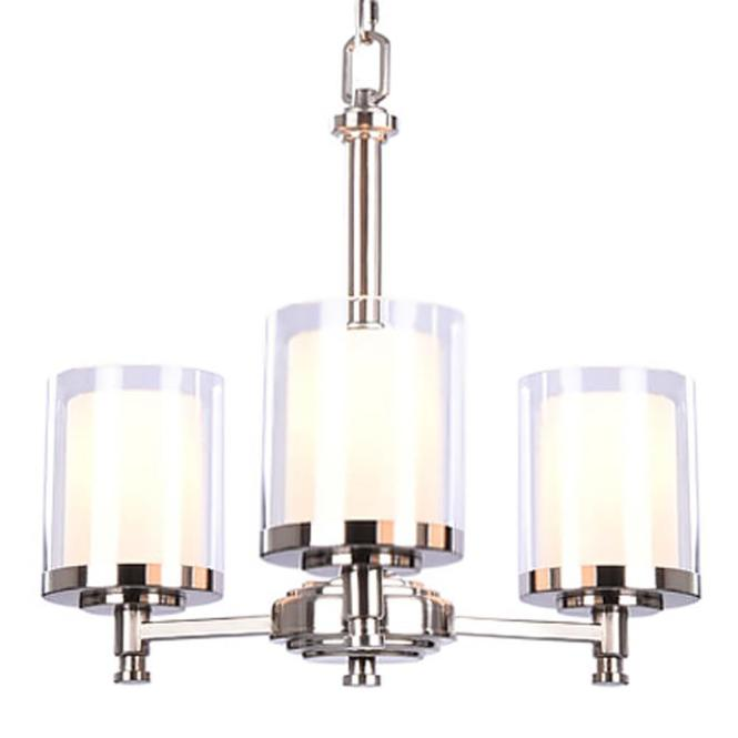 Hampton Bay Burbank 3 Light Brushed Nickel Chandelier With Dual Glass Shades