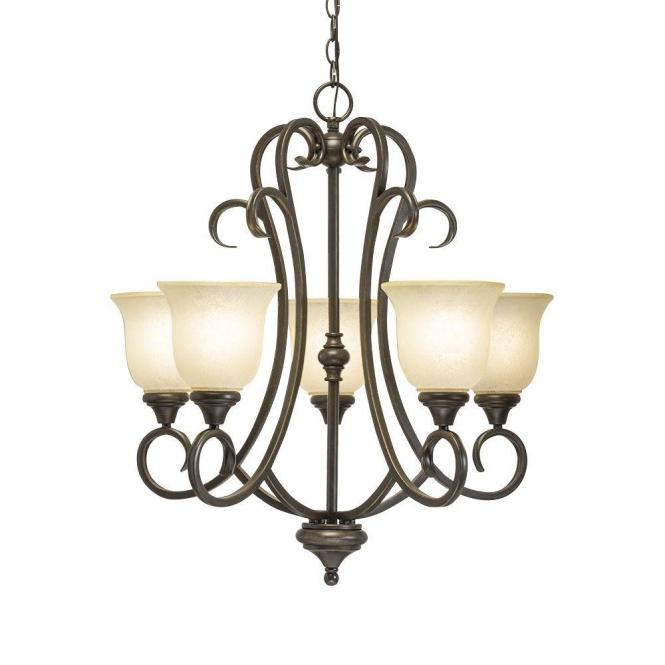 Hampton Bay Lavers Hill 5 Light Iron Stone Chandelier With Frosted Glass Shade 89579 The Home Depot