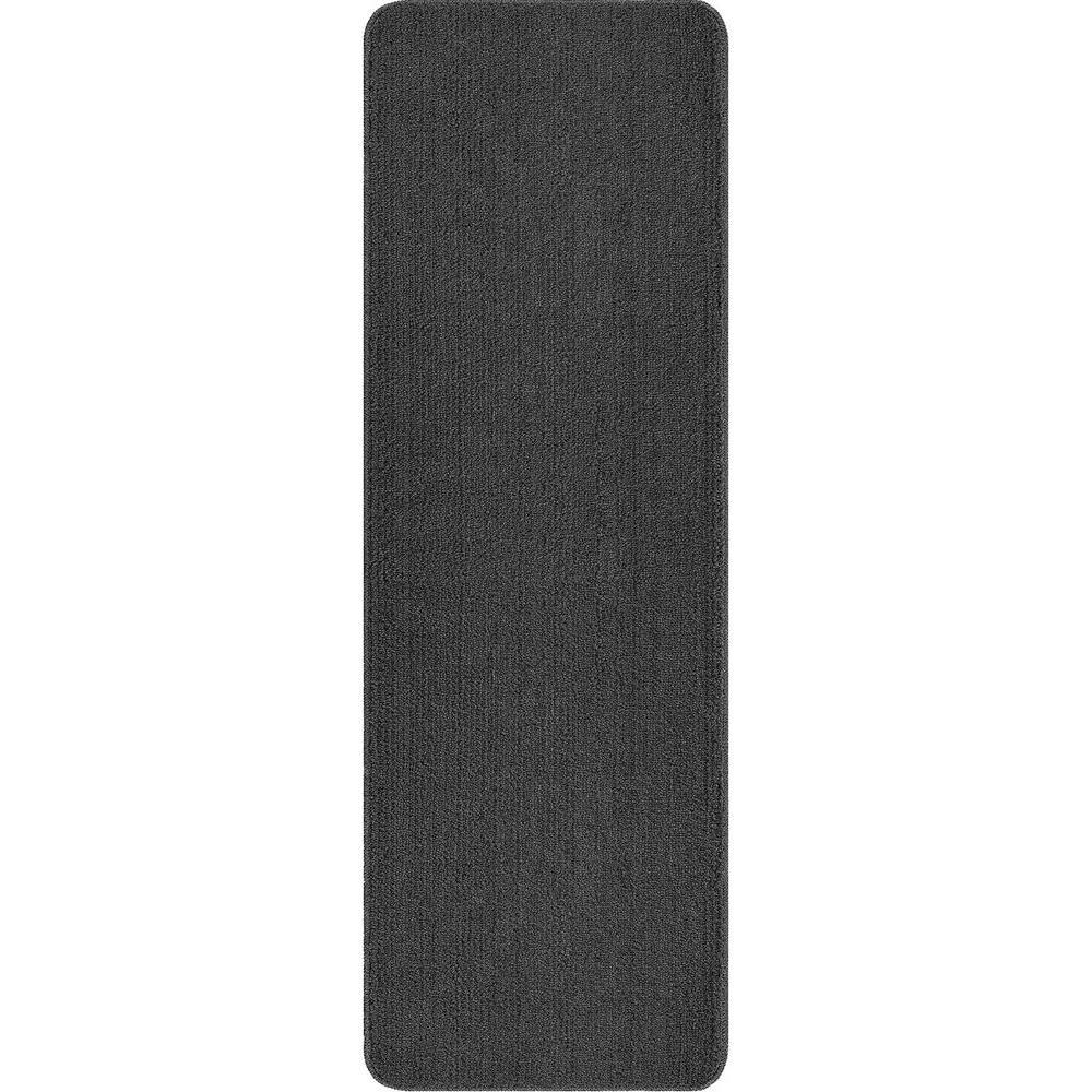 ottomanson solid design gray 2 ft. 2 in. x 6 ft. non-slip bathroom