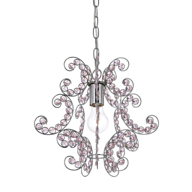 Sweet Dream 1 Light Chrome Mini Chandelier With Pink Glass Accents