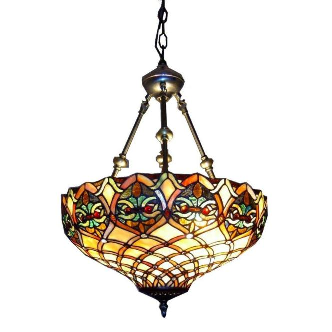 Warehouse Of Tiffany 2 Light Brass Inverted Hanging Pendant With Ariel Stained Glass