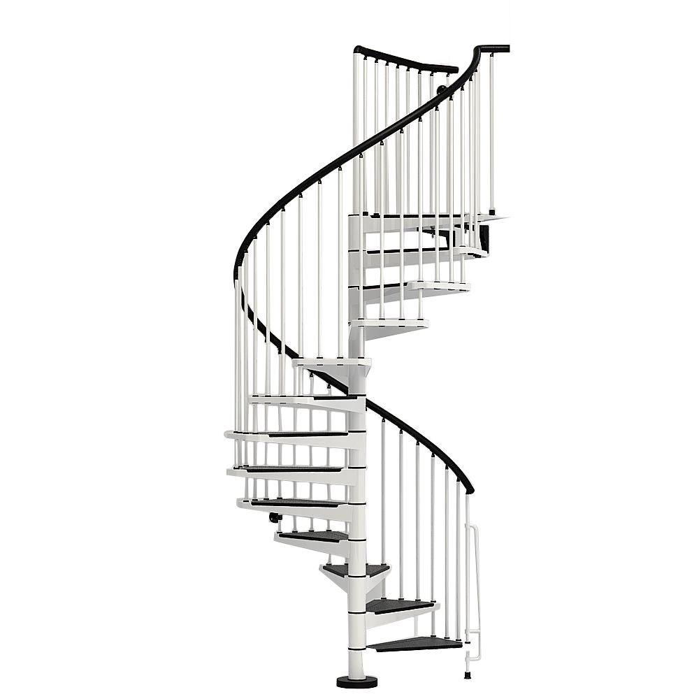 Arke Civik 55 In White Spiral Staircase Kit K03004 The Home Depot   Spiral Staircase Home Depot   Steel   90 Degree   Alternating Tread   Outdoor   Small Metal