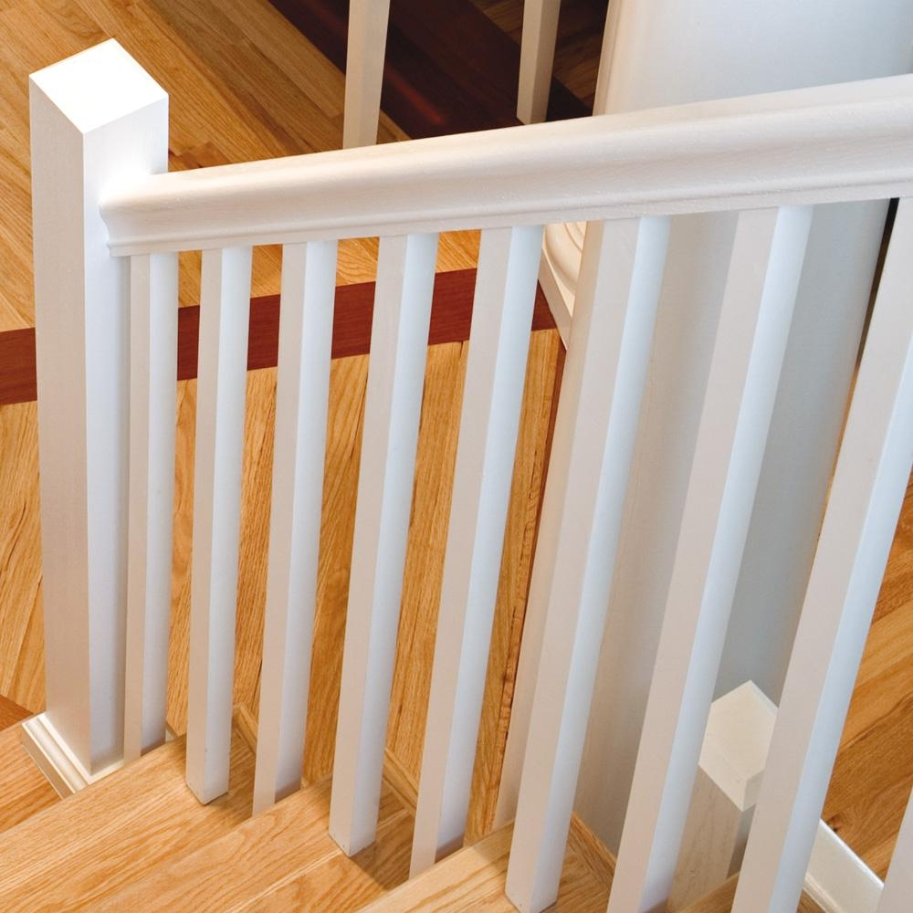 Stair Parts 41 In X 1 1 4 In Primed Square Baluster 5060X 041   Wood Stair Railing Home Depot   Deck   Rail Kit   Porch   Oak Stair   Box Newel Post