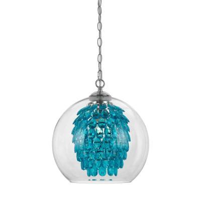 Glitzy 1 Light Turquoise Chandelier