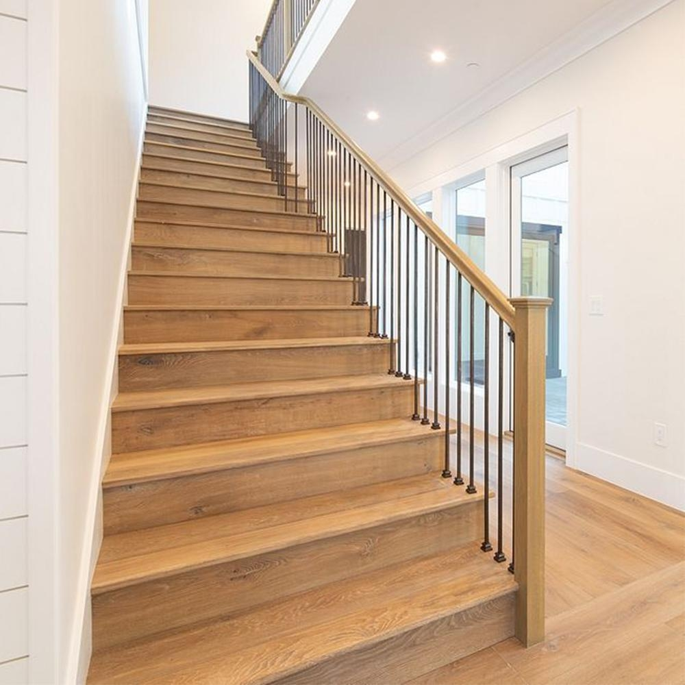 Swaner Hardwood 1 In X 11 1 2 In X 54 In White Oak Stair Tread | Oak Steps For Stairs | Wood Floor | Iron Baluster | Rounded | Stained | Closed Tread