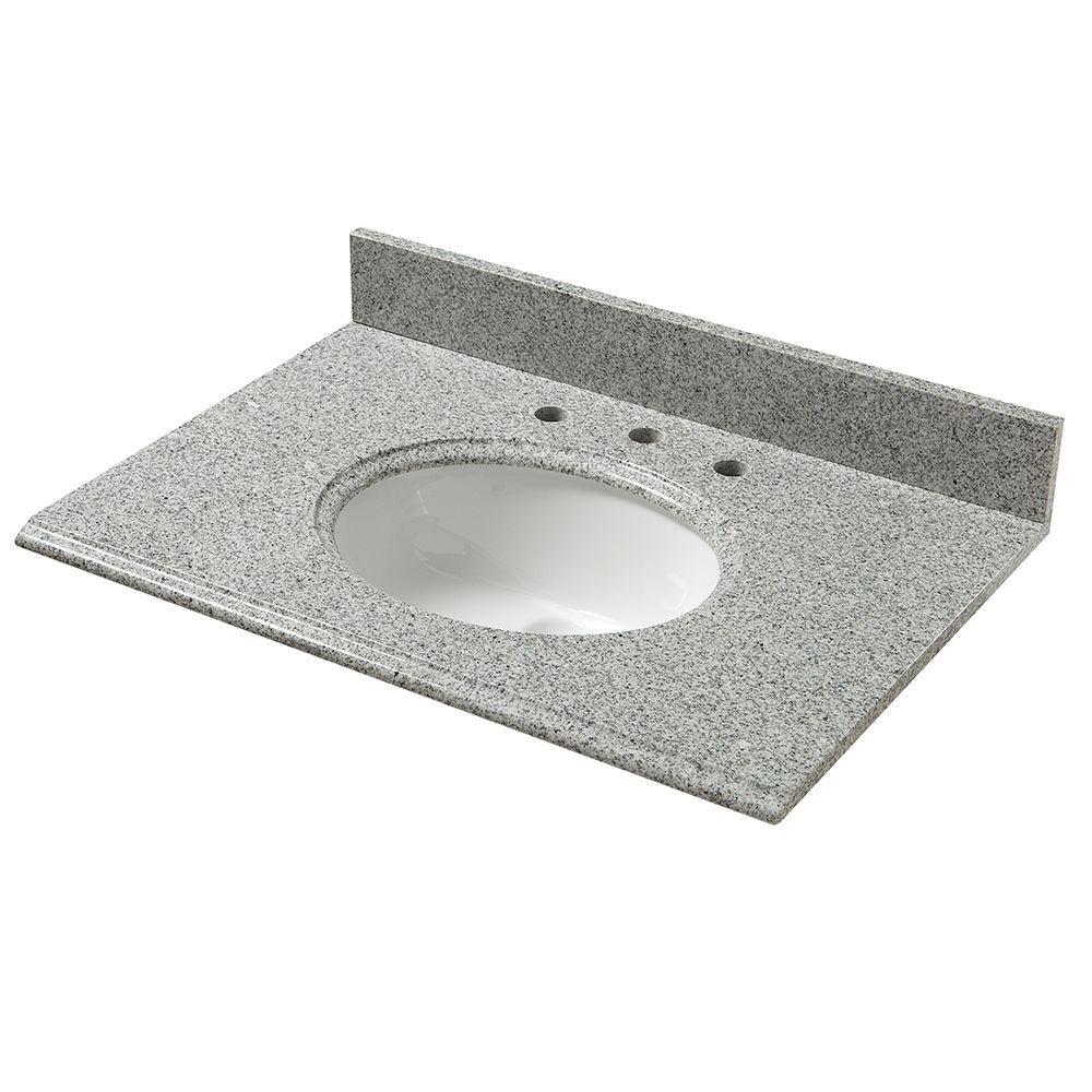 pegasus 25 in granite vanity top in napoli with white basin