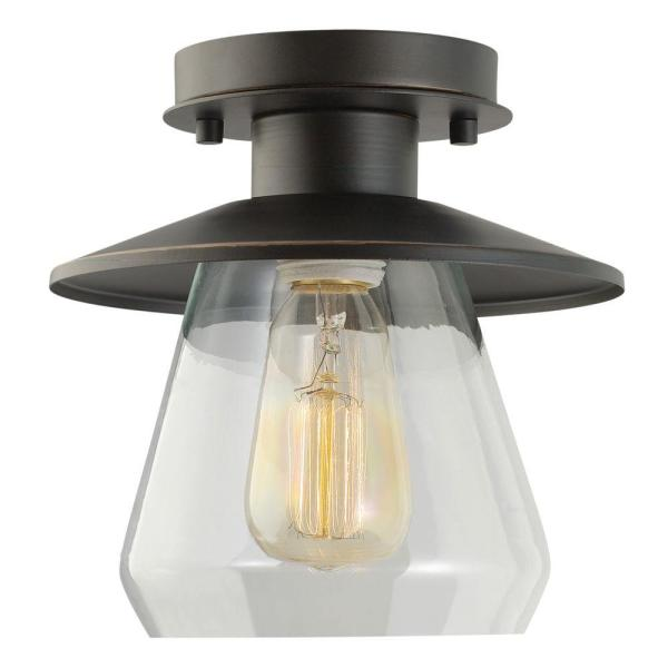 Design House   Flushmount Lights   Lighting   The Home Depot Vintage Semi Flush Mount Oil Rubbed Bronze and Glass Ceiling Light
