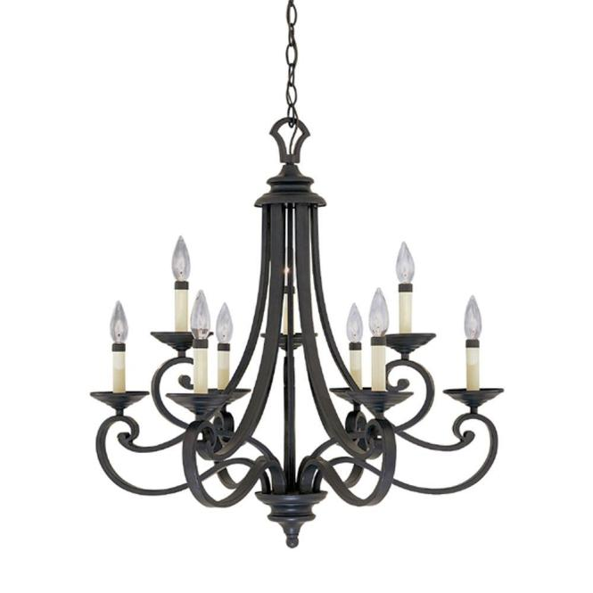 Monte Carlo 9 Light Hanging Natural Iron Chandelier