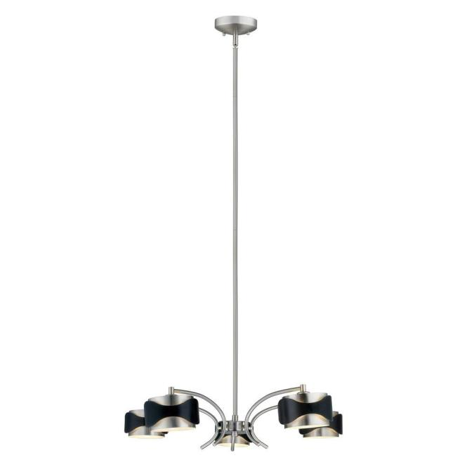 Eglo Catwalk 5 Light Chrome And Black Hanging Chandelier 20107a The Home Depot