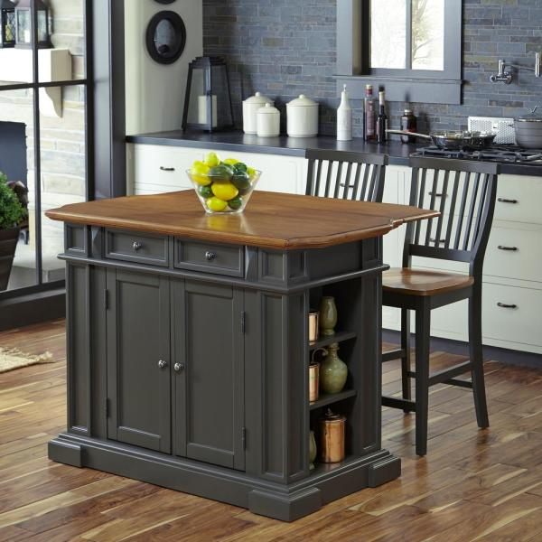 Homestyles Americana Grey Kitchen Island With Seating 5013 948 The Home Depot