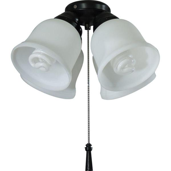 Hampton Bay 4 Light Universal Ceiling Fan Light Kit with Shatter     Hampton Bay 4 Light Universal Ceiling Fan Light Kit with Shatter Resistant  Shades