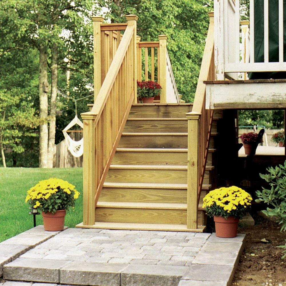 6 Step Ground Contact Pressure Treated Pine Stair Stringer 279715 | Pre Built Wooden Steps | Oak | Exterior | Pre Built | Box | Prefabricated