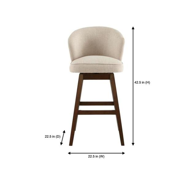 Home Decorators Collection Ingram Upholstered Swivel Bar Stool With Barrel Back And Biscuit Beige Seat 23 In W X 43 7 In H 4115 30 Biscuit The Home Depot