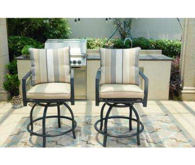 Swivel Metal Outdoor Bar Stool With Beige Cushion  Pack