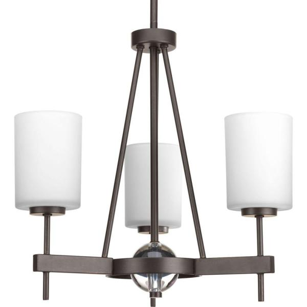 Progress Lighting Riverside Collection 9 Light Heirloom Chandelier     Compass Collection 3 Light Antique Bronze Chandelier with Opal Etched Glass