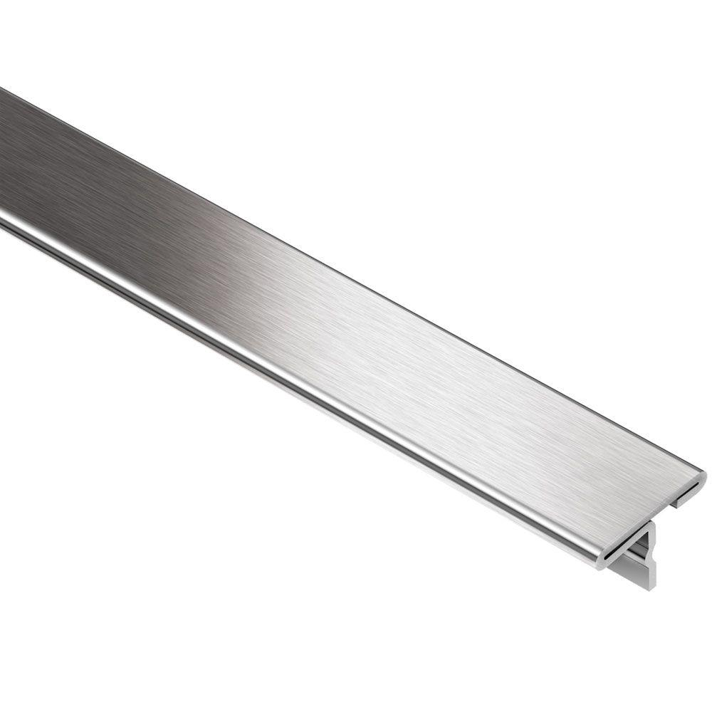 schluter reno t brushed stainless steel 1 in x 8 ft 2 1 2 in metal t shaped tile edging trim
