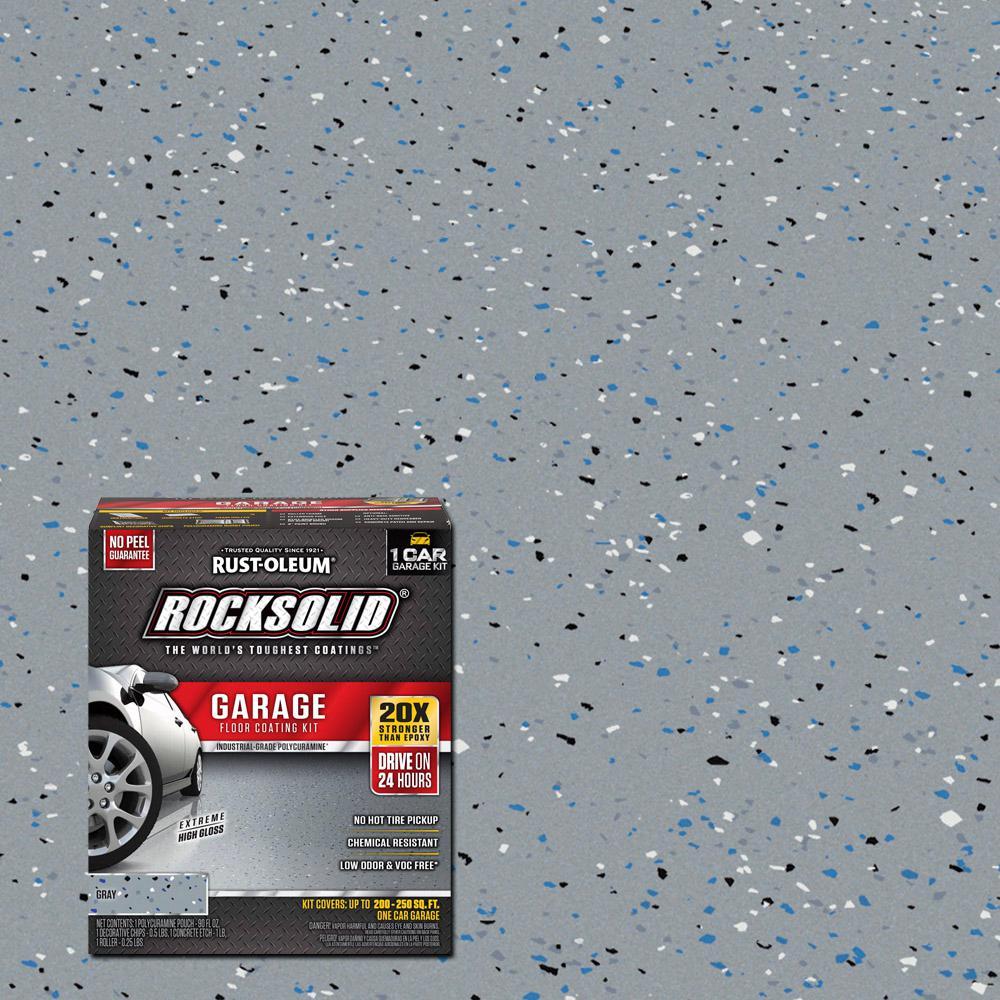 Rust Oleum Rocksolid 76 Oz Gray Polycuramine 1 Car Garage Floor Kit 286891 The Home Depot